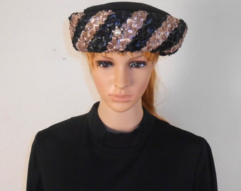 Vintage Women's Black and Bronze Hat - Union Made with Mesh Top - Free Shipping