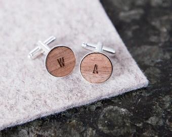 Personalised Initial Cufflinks - Monogrammed Cufflinks - Wooden Cufflinks - Custom Cufflinks - Engraved Initials - Vintage Style Cufflinks