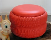 Vintage orange imitation leather Stool Taboret Footstool Chair Ottoman Pouf Sewing Organizer Container Mid Century Panton Eames Era1970s