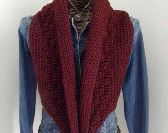 Burgundy Infinity Scarf  and hat set, Winter Scarf, Women's Slouchy hat,Winter Accessories, Handmade, Crocheted, Gift for women