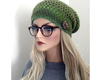 Boho Slouchy Hat, Hand Crocheted Winter Accessory, womens Slouch hat, Teens slouchy hat, Hippie Beanie, Shades of Green, Wool Blend
