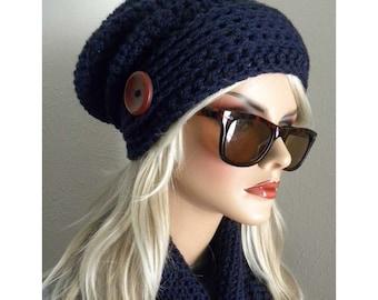 Navy Blue Hat & Scarf Set, Navy Blue Infinity Scarf, Blue Slouch Hat, Crochet Winter Scarf, Warm Scarf, Boho Ht