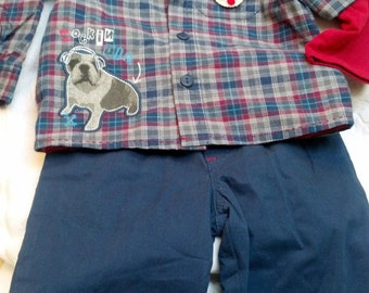 Baby Boys Infant Red Blue White Plaid 3 Piece Set Oxford Shirt Pants -  Handmade Puppy Dog - One Size:  6-9 months