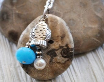 Petoskey Stone necklace with sterling fish charm, white pearl, and blue crystal, Michigan necklace, Up North