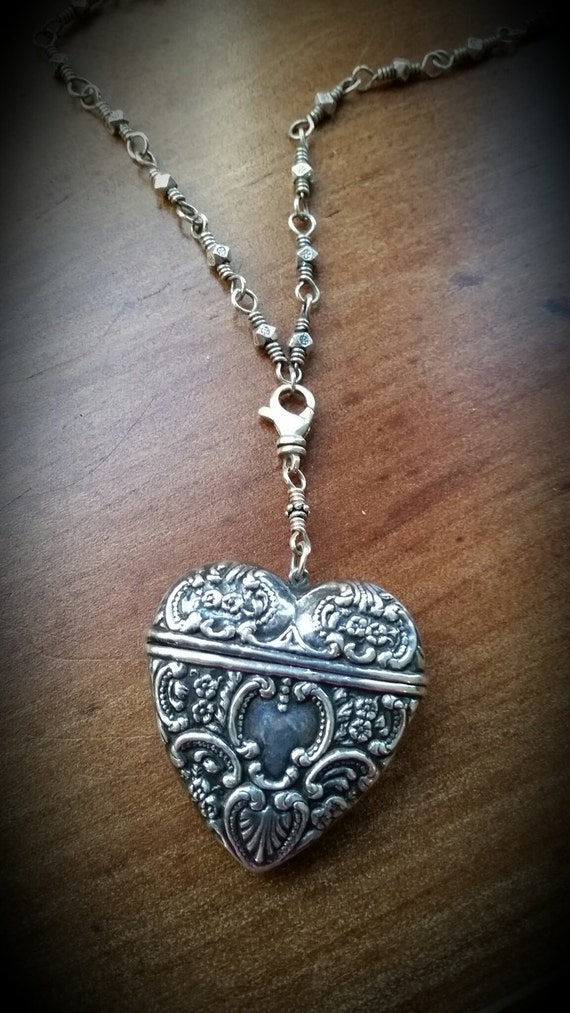 Estate Antique Style Heart Box Pendant (chain sold separately)