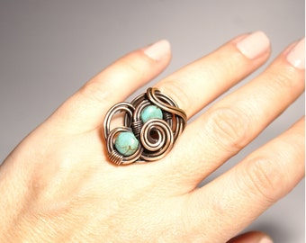 Turquoise Ring , gemstone ring , unique ring, bohemian jewelry,wire wrapped ring ,