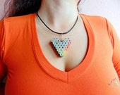 Heart shaped rainbow colored pencil crayon necklace pendant with brigh...