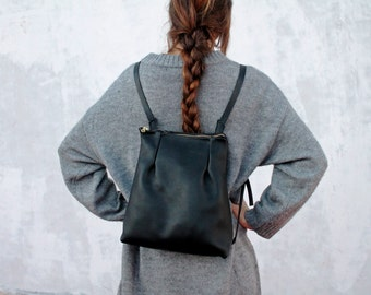 Small leather backpack, black leather backpack, leather backpack, black backpack, backpack for women, for her, handmade leather bag