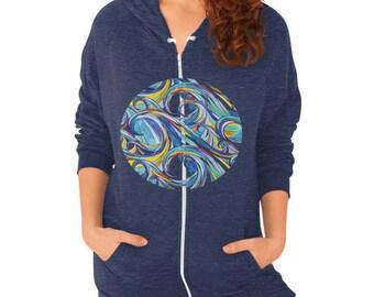 Watercolor Waves Hoodie - zip-up hooded sweatshirt with colorful ocean design, printed on choice of sweatshirt