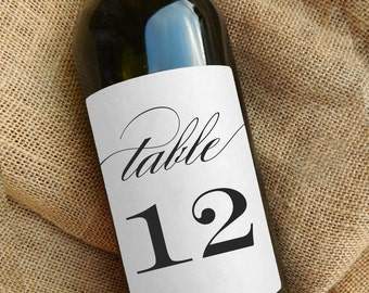 Table Number Wine Labels \\ Kraft or White