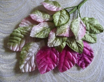 SALE Velvet Millinery Leaves Pink and Green Ombre Beautiful Chic Spray of 18 for Hats Weddings Crafts Scrapbooking 7LN0001P3