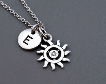 Sun necklace, Sun charm jewelry, Silver sun necklace, Celestial necklace, Silver sun charm, initial necklace, personalized, monogram