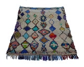 """75""""X58"""" inch Large vintage Moroccan rug woven by hand from scraps of fabric / boucherouite / boucherouette"""