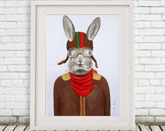 Original Rabbit Painting, on high quality 300g Clairfontaine Art paper, handpainted by Coco de Paris: Rabbit Aviator
