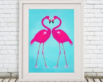 Pink Flamingo Print, Flamingo heart, portrait painting  Giclee Print Acrylic Painting Illustration Print wall art wall decor Wall Hanging