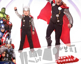 MARVEL AVENGERS Thor Cosplay Costumes Boys 3-8 / Men S-XL (34-48) Sewing Pattern - Simplicity 1038 / 0226, Official Licensed Product, New!