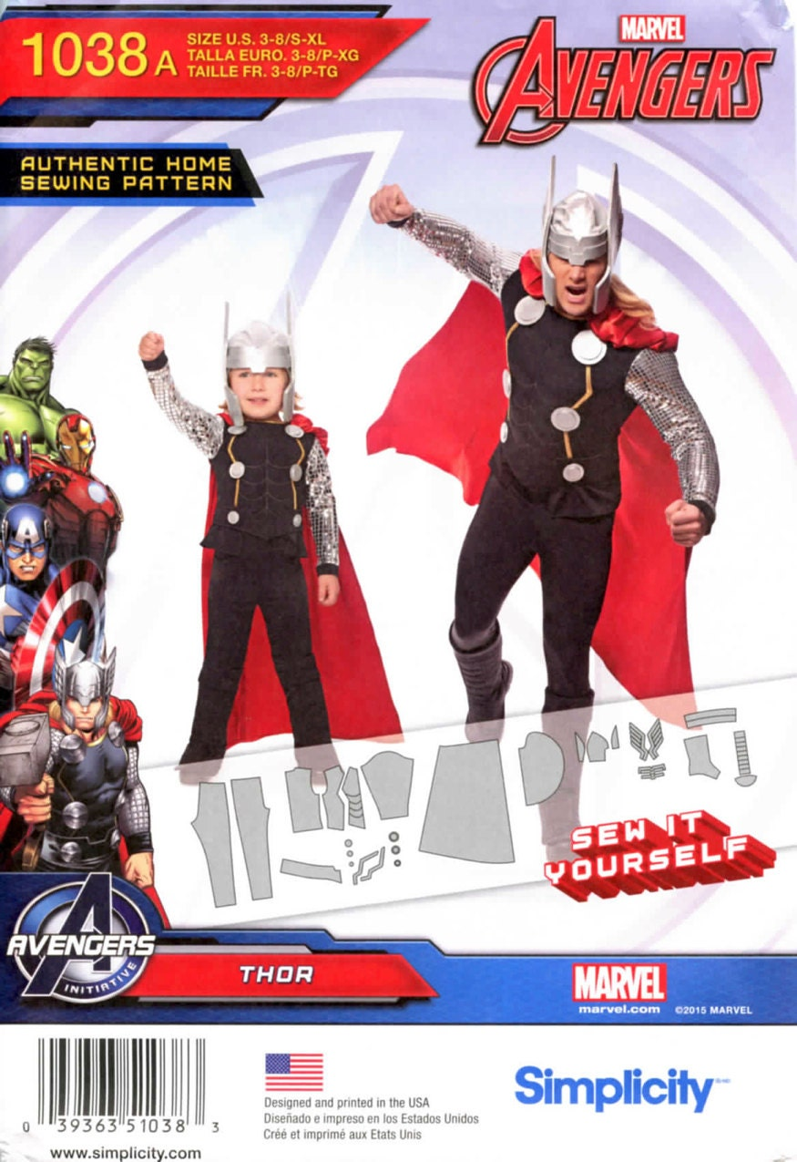 Marvel Avengers Thor costume pattern - Simplicity 1038