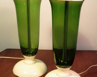 Vintage Mid Century Green Glass Table Lamps