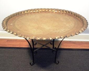 Vintage Mid Century Moroccan Brass Tea Table