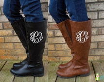Monogrammed Boots, Personalized Women's Boots, Brooklyn Boots, Zipper Boots, Monogram Boots, Boots with Initials, Monogrammed Shoes