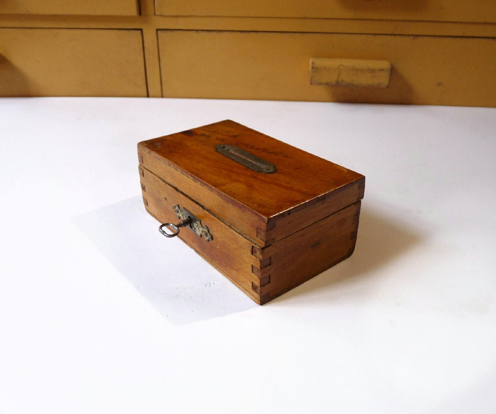 Reserved wooden money box with key safe coins box 1930s home for Home money box