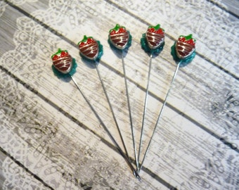 5 Chocolate Dipped Strawberries Handmade Decorative 2 inch Stick Pins - Sewing Quilting Pins - Scrapbook Card Embellishment Pins - QPMC16