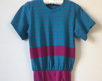 pink and blue vintage striped one piece