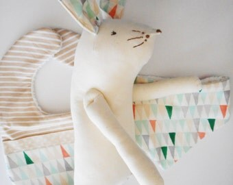 Soft Toy and Bibs Set- Bunny in natural cotton with watercolour triangle print.
