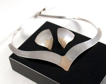 Sterling Necklace & Earrings - Canadian Artisan - Post Modern Minimalist Collar Choker - Sterling 10K Gold - Modernist - Toronto