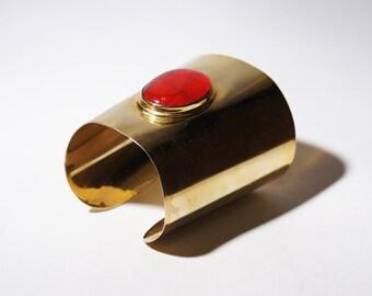 Huge Rafael Canada Bracelet - Cuff - Red - Big Large Statement - Gold Brass - Alfandary Canadian - Brutalist Modernist - 1970's