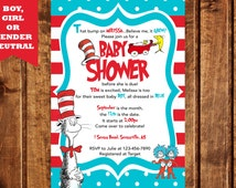 Dr. Seuss Baby Shower Invitation, Cat in the Hat Baby Shower Invitation, Baby Shower Invitation, Thing 1 & Thing 2 Baby Shower Invitation