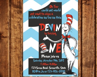 Cat in the Hat Invitation, Dr. Seuss Invitation, Cat in the Hat Party, Cat in the Hat, Dr. Seuss Party, Dr. Suess, Chevron Invitation