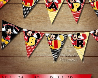 INSTANT DOWNLOAD Mickey Mouse Red Black Yellow Polka Dotted Birthday Pennant Banner, Printable Mickey Mouse Polka Dotted Flag Bunting Banner