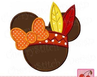 Thanksgiving Minnie,Pilgrim Minnie Machine Embroidery Applique Design MM061 -for 4x4 5x5 6x6 inch