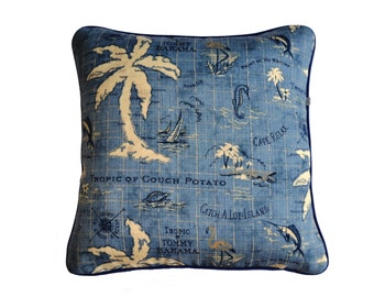 Outdoor Tommy Bahama design Island Song in denim blue,double sided with piping detail in navy dark blue . Invisible zip .