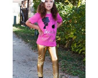Dreaming Kids Gold Metallic Leggings