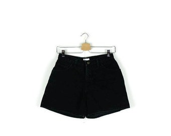Free Shipping!! Vintage High waisted Black Denim Shorts from 80's*