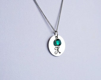 "Hand Stamped Necklace | 3/4"" Single Initial Pendant 