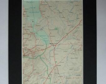 1930s Antique Map of Pskov, Available Framed, Latvian Art, Latvia Gift, Baltic Decor, Old Estonian Picture, Estonia Wall Art Russian Artwork
