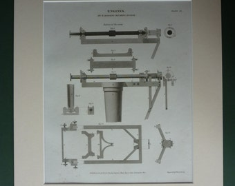 1811 Antique Scientific Print of Jesse Ramsden's Dividing Engine, Machinery Decor, Available Framed Machine Art Industrial Technical Diagram