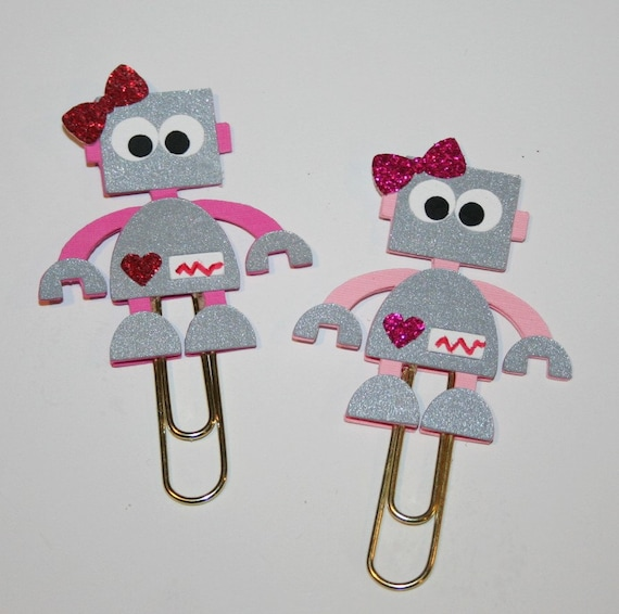 Girl Robot Planner Clip / Paper Clip / Valentine Planner Clip