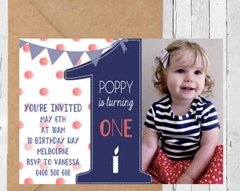 Photo Birthday Invitation, First Birthday, 1st Birthday Party, Polka Dots, DIY Printable, Girls Birthday, Pretty, Stationary, Invite