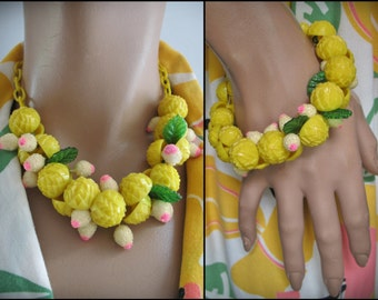 Mid-Century Chunky CHA CHA Early Plastic Fringe Necklace & Bracelet Set, Yellow DECO Button Dangles, Sugar Beads, Leaves, Cellulloid Chain
