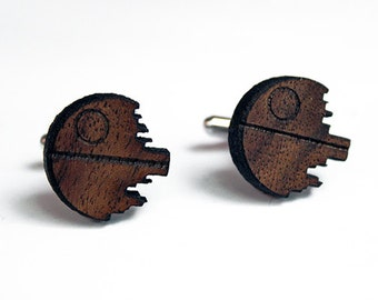 Death Star Wood Cuff Links, wood cuff links, geek cuff links, geeky cufflinks, cufflinks, christmas gift for him one of a kind