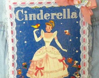 Cinderella Wall Decor Girls Room Decor Vintage Storybook Pink Blue White