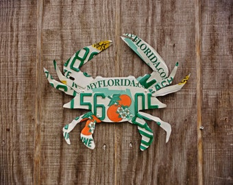 Upcycled Florida License Plate Crab