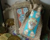 Set 6 Sugar Skull Gift Bags. Halloween Party Favors Skeleton Dia de los Muertos Sugar Candy Loot bag Party Decor Hanging ornament