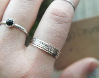 5 Piece Skinny Stacking ring set | Silver ring set | Silver stacking ring | Sizes 2-11| ring set | Thin ring | hammered stacking ring