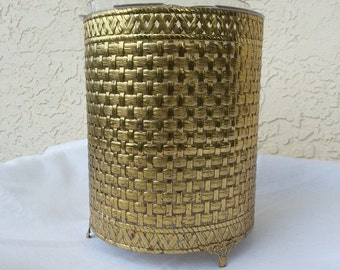 gold waste basket hollywood regency glamour makeup vanity office paper basket retro seventies designer decor elegant rich fancy classic USA