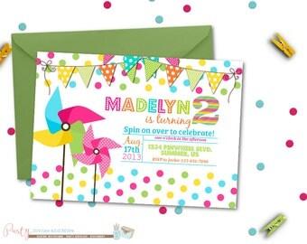 Colorful Summer Pinwheel Birthday Invitation, Digital File, DIY, Bright Colors, Banners, Hot Pink, Green, Blue, Yellow, Birthday Invitation